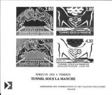 Tunnel Sous La Manche - épreuve En N&B Des 4 Timbres (Yv 2880-2883) - Documenti Della Posta