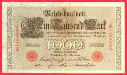Germany  -  1000 Marks - Red Seal - Large Banknote - 1910 / Papier Monnaie - Billet Allemagne - [ 2] 1871-1918 : Empire Allemand