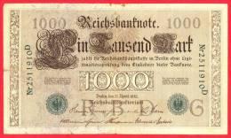 Germany  -  1000 Marks - Green Seal - Large Banknote - 1910 / Papier Monnaie - Billet Allemagne - [ 2] 1871-1918 : Empire Allemand