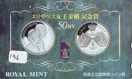 Télécarte Japon * Pièce De Monnaie (136) Money * Coin * Munten * Munzen * Geld * PHONECARD JAPAN * TK * QUEEN ELISABETH - Timbres & Monnaies
