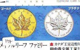 Télécarte Japon * Pièce De Monnaie (137) Money * Coin Munten Munzen * Geld * PHONECARD JAPAN * TK * CANADA * MAPLE LEAF - Timbres & Monnaies