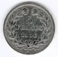 5 Francs Argent , Louis-Philippe Ier 1836 MA - J. 5 Franchi