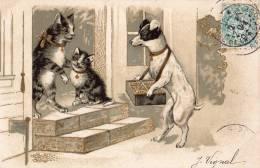 CHATS HUMANISEES CHIEN LIVREUR CARTE PRECURSEUR - Cats