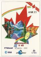 ARIANE V46 - Kourou 1991 - ANIK E1, ESPACE, CONQUETE SPATIALE - Autocollant TBon Etat (voir Scan) - Non Classés