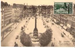 Bruxelles-1934- Place De Brouckère Vers Le Boulevard Anspach-Camion-Tram-Timbre COB386- Le Palais Du Congo-Expo. 1935 - Marktpleinen, Pleinen
