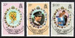 Pitcairn Island 1981 Charles & Diana Royal Wedding Set Of 3, Fine Used (A) - Pitcairn Islands