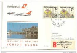 FL - 16015 - Enveloppe 1er Vol Swissair Zurich- SEoul B747 1986 - Korea, South