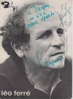 Autographe De Léo Ferré Sur Publicité Barclay - Autographes