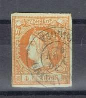 Sello 4 C Isabel II 1860, Fechador CALATAYUD (Zaragoza) Num 52 º - 1850-68 Kingdom: Isabella II
