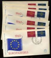 EUROPA 1960 Lot De 8 FDC Cat Waarde 19€ Per Stuck - FDC
