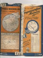 CARTE-ROUTIERE-MICHELIN-1933--N°73-N°3337-97-CLERMONT-FD-LYON-PA S  DECHIREE-COUVERTURE-AR DECOUPEE-CARTE -TBE - Cartes Routières
