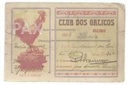 AVEIRO - ILHAVO - 1923 - CLUB DOS GALITOS - CARTÃO DE SÓCIO ANUAL - PORTUGAL - 2 SCANS - Sport