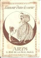 CARTE PARFUMEE ANCIENNE - L'AMOUR DANS LE COEUR - ARYS 3, Rue De La Paix - PARIS - Perfume Cards