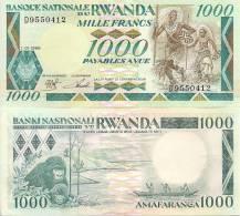 Rwanda P-21, 1,000 Francs, Warriers Dancing / Gorilla Family, Lake - Ruanda