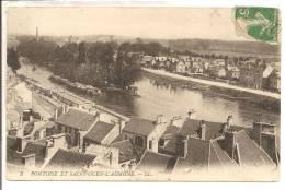 95 -  PONTOISE Et SAINT-OUEN-L' AUMONE  -  Péniches , Restaurant Sur L'île - Pontoise