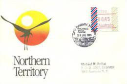 Oiseau Jabiru . Black-necked Stork (Ephippiorhynchus Asiaticus) Avec Frama ATM Emis A DARWIN En 1985, Sur Lettre - Vignettes ATM - Frama