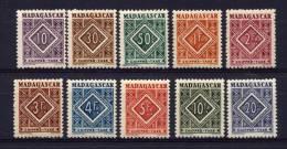 MADAGASCAR  - N° T31/40** -  TIMBRES TAXE - Madagascar (1889-1960)