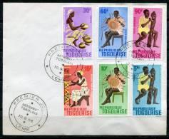 TOGO - Y&T 495 à 98 + PA 57 Et 58  Sur Enveloppe 1er Jour (Artisanat) - Togo (1960-...)