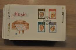 5 + GREAT BRITAIN  FDC 1980 MUSIC MUZIEK MUSIQUE - FDC