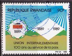 Timbre Oblitéré N° 1350(Cob) Rwanda 1989 - Union Interparlementaire - Rwanda