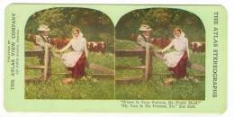 SV Romantic Couple In Field Next To Fence 1890´s - Stereoscopic