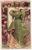 CHROMO Chocolat Guérin- Boutron Les Costumes Renaissance à Nos Jours Costume De Ville 1570 Femmes Masque Loup - Guerin Boutron