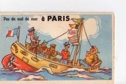 PARIS - Pas De Mal De Mer à Paris - Carte à Système - Dépliant 10 Vues - France