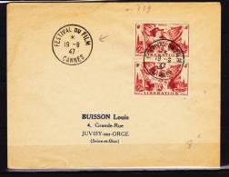 FRANCE LETTRE AVEC N° 739 PAIRE OBL FESTIVAL DU FILM DE CANNES DU  19.9.1947 - France