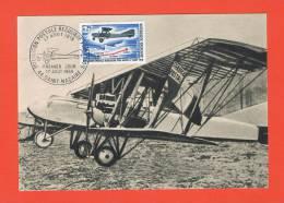 1ere  LIAISON POSTALE RÉGULIÈRE PAR AVION 17 AOÛT 1918 Premier Jour 17 Août 1968  SAINT NAZAIRE -44 - Cartes-Maximum