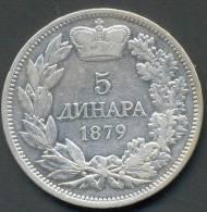 SERBIA , 5 DINARA 1879 - Serbie