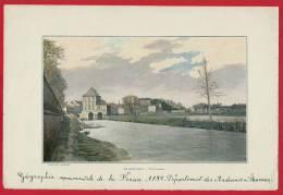 ARDENNES-Photo/gravure Originale De 1899-Charleville (vieux Moulin) & Au Verso:L'église Saint-Didier à Asfeld - Lieux