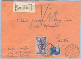 1952 DEMOCRATICA L. 30 + LAVORO L. 10 BUSTA RAC C.AVERSA 20.6.52 A CASERTA MISTA OTTIMA UALITÀ (A78) - 6. 1946-.. Repubblica