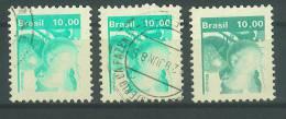 VEND BEAUX TIMBRES DU BRESIL N° 1530 X 3 NUANCES DIFFERENTES !!!! - Gebruikt