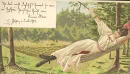 1 AK Litho -1901 - Schöne Frau In Der Hängematte - Sign. Alfred Mailick - Gel. Leipzig - - Mailick, Alfred
