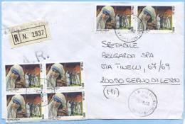 1988 MADRE TERESA L.800 COPPIA + QUARTINA BUSTA 26.9.98 TARIFFA LETTERA RACCOMANDATA MULTIPLO PURO E TIMBRO ARRIVO (5047 - 6. 1946-.. Repubblica