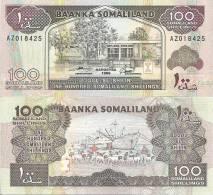 Somaliland P-5f, 100 Shillin, Central Bank /  Sheep, Port Of Berbera With Ship - Banconote