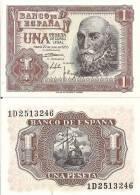 Spain P-144, 1 Pesetas, Marquéz De Santa Cruz / Spainish Galleon 1953  $6CV - [ 3] 1936-1975 : Régence De Franco