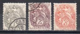 1902 - 03, Crete - Bureau Français,  YT No. 1 - 3, Oblitéré,  Voir Scan, Lot 33519
