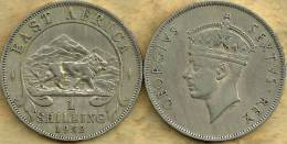 BRITISH EAST AFRICA 1 SHILLING LION ANIMAL FRONT KGVI HEAD BACK 1952 KM31 AVF READ DESCRIPTION CAREFULLY!! - Munten