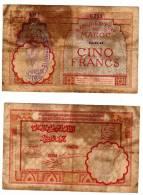 CINQ Francs Avec Contremarque A La CROIX DE LORRAINE  14.11.1941 - Morocco