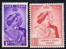 81103 - Gilbert & Ellice Islands 1949 KG6 Royal Silver Wedding Set Of 2 Unmounted Mint SG 57-8 - Stamps