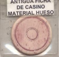 ANTIGUA FICHA DE CASINO 1900s MATERIAL HUESO BONE BONES - REPUBLICA ARGENTINA ORIGINAL - Casino