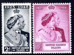 78227 - Solomon Islands 1949 KG6 Royal Silver Wedding Set Of 2 Unmounted Mint SG 75-6 - Stamps