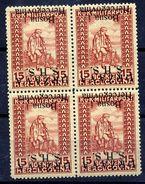 YUGOSLAVIA 1918 SHS Inverted Overprint On 15h War Invalids Block Of 4 MNH./ **.  Michel 20 I K - Unused Stamps