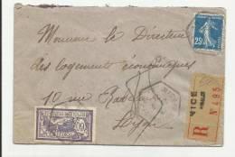 1924 - ENVELOPPE RECOMMANDEE De NICE - RECETTE AUXILIAIRE - SEMEUSE - MERSON - Storia Postale