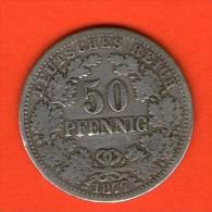 Deutsches Reich / Imperio / KR  KM#6  **  50 Pfennig 1877 F  **  Plata / Silber / Silver ** ALEMANIA GERMANY DEUTSCHLAND - 50 Pfennig