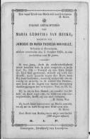 ZOMERGEM Doodsprentje  M L VAN HECKE Dochter Van  V Hulle  1852/1870 - Religion & Esotérisme