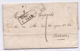 Cachet D´essai Bordeaux 32 / 2 Fevrier 1828 Sur Pli Avec Texte, Indice 20: 430/ 450€ - 1801-1848: Précurseurs XIX