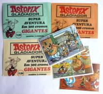TRES RARE LOT de 3 POCHETTES PORTUGUAISES ASTERIX GLADIADOR + 3 IMAGES 1974