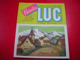 PUB / PUBLICITE   BISCOTTES LUC CHATEAUROUX  AVEC CARTE POSTALE A DECOUPER JOYEUX NOEL  ILLUSTRATEUR LAGOBERT ?? - Advertising